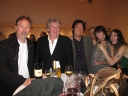 Anton Segerstrom and friend, Nobuhito Nishigawara, Mark and Hilarie Moore, Allison Schulnik and large glass of wine.